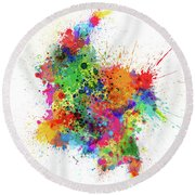 Colombia Paint Splashes Map Round Beach Towel