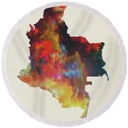 Colombia Watercolor Map Round Beach Towel