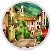 Round Beach Towel featuring the digital art Colonno.lake Como by Jennie Breeze