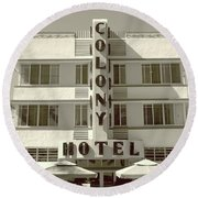 Colony Hotel South Beach Round Beach Towel