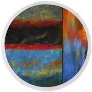 Color Abstraction Li  Round Beach Towel