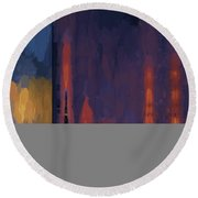 Color Abstraction Lii Round Beach Towel