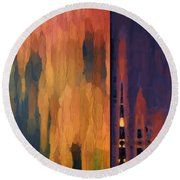 Color Abstraction Liv Round Beach Towel