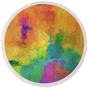 Color Abstraction Xxxiv Round Beach Towel