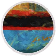 Color Abstraction Xxxix Round Beach Towel