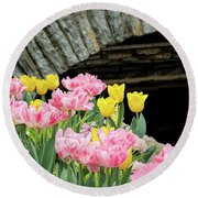 Color Along The Pond Round Beach Towel