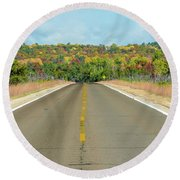 Color At Roads End Round Beach Towel