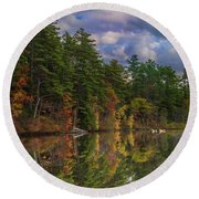 Color At Songo Pond Round Beach Towel