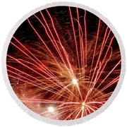 Round Beach Towel featuring the photograph Color Blast Fireworks #0731 by Barbara Tristan