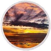 Color Burst Malibu Sunset Round Beach Towel