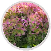 Color-changing Little Lime Hydrangea Round Beach Towel