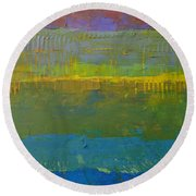 Color Collage Five Round Beach Towel by Michelle Calkins