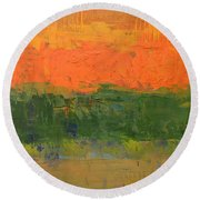 Round Beach Towel featuring the painting Color Collage Four by Michelle Calkins