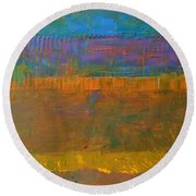 Round Beach Towel featuring the painting Color Collage One by Michelle Calkins