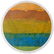 Round Beach Towel featuring the painting Color Collage Three by Michelle Calkins