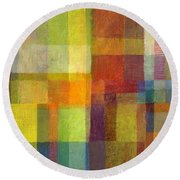 Round Beach Towel featuring the painting Color Collage With Green And Red 2.0 by Michelle Calkins
