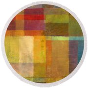 Round Beach Towel featuring the painting Color Collage With Green And Red by Michelle Calkins