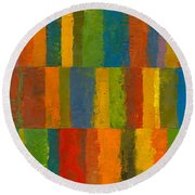 Round Beach Towel featuring the painting Color Collage With Stripes by Michelle Calkins
