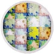 Round Beach Towel featuring the mixed media Color Drops 3 by Ann Calvo