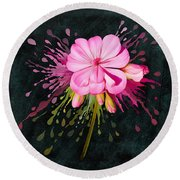 Round Beach Towel featuring the painting Color Eruption  by Ivana Westin