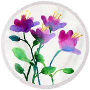 Color Flowers Round Beach Towel