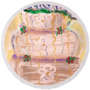 Color In A Wedding Cake Round Beach Towel