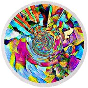 Color Lives Here Round Beach Towel