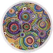 Color Me Happy Round Beach Towel by Tanielle Childers
