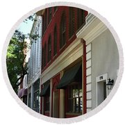 Round Beach Towel featuring the photograph Color Me Main St Usa by Skip Willits