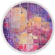 Round Beach Towel featuring the painting Color Odyssey by Nancy Jolley