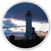 Color Of December, Tibbetts Point Lighthouse Round Beach Towel