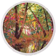 Color Of Forest Round Beach Towel