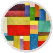 Color Panel Abstract With White Buttons Round Beach Towel by Michelle Calkins