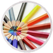 Color Pencils Round Beach Towel