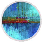 Round Beach Towel featuring the painting Color Pond by Nancy Merkle