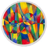 Color Shards Watercolor Round Beach Towel