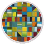 Color Study Collage 67 Round Beach Towel by Michelle Calkins