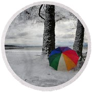 Color To The Melancholy Round Beach Towel