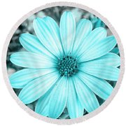 Color Trend Blue Blossom Round Beach Towel