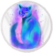 Round Beach Towel featuring the painting Color Wash Cat by Nick Gustafson