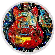 Color Wheel Guitar Round Beach Towel