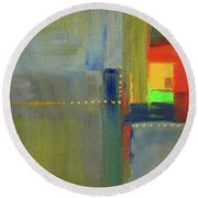 Round Beach Towel featuring the painting Color Window Abstract by Nancy Merkle