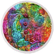 Color With Buttons Round Beach Towel