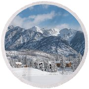 Round Beach Towel featuring the photograph Colorad Winter Wonderland by Darren White