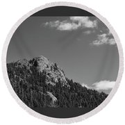 Round Beach Towel featuring the photograph Colorado Buffalo Rock With Waxing Crescent Moon In Bw by James BO Insogna