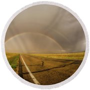 Round Beach Towel featuring the photograph Colorado Double Rainbow by Chris Bordeleau