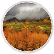 Round Beach Towel featuring the digital art Colorado Fall Colors  by OLena Art Brand