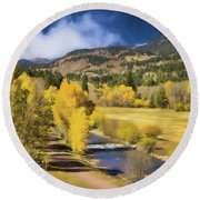 Colorado Fall Mountains Round Beach Towel by Steven Parker