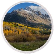 Round Beach Towel featuring the photograph Colorado Fall by Steven Reed