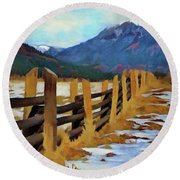 Round Beach Towel featuring the painting Colorado Fence Line  by Jeff Kolker